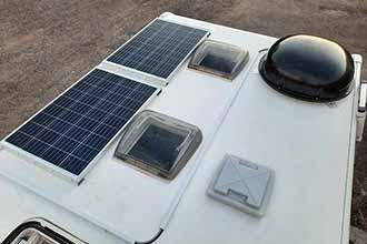 Установка солнечных батарей, спутниковой антенны, телевизора, инвертора, дополнительных аккумуляторов на автодом Eura Mobil.